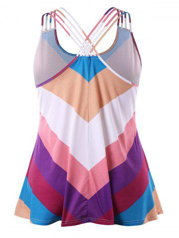 Rainbow Striped Plus Size Basket-weave Tank Top