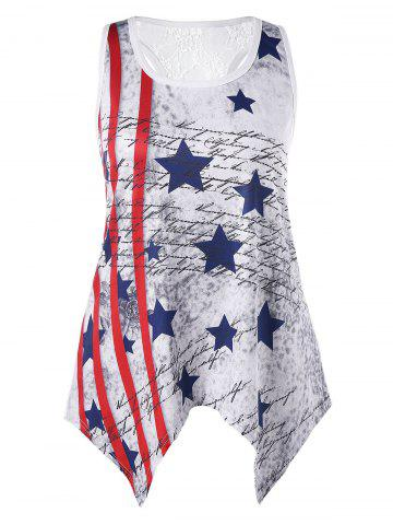 Discount Plus Size Handkerchief Patriotic Tank Top