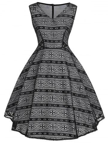 Sale Vintage Geometric Print Flare Dress