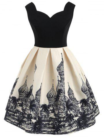 Hot Russian Architecture Print Sleeveless Vintage Dress