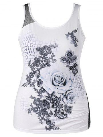 Outfits Plus Size Rose Print Tank Top