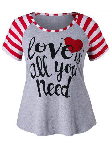 Best Plus Size Letter Print Raglan Sleeve T-shirt