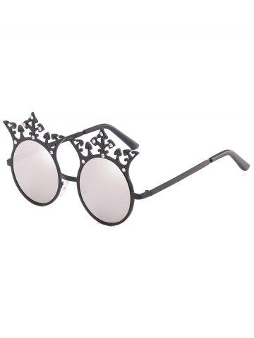 Fancy Crown Rhinestone Sun Shades Circle Sunglasses