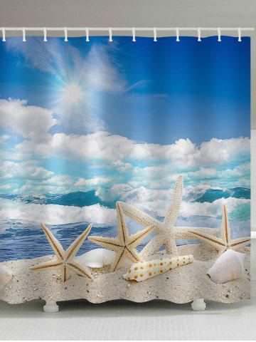 Trendy Starfishes Shells Beach Scenery Printed Bath Curtain