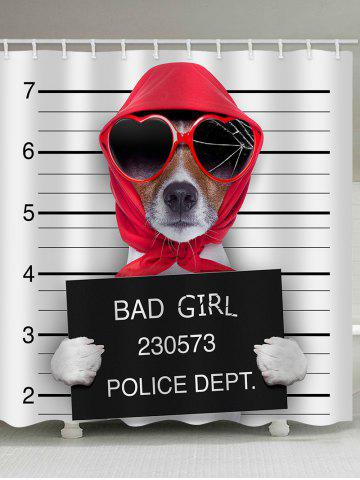 Best Mugshot of Wanted Dog Holding a Banner Print Shower Curtain