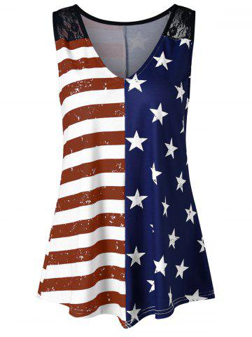 Fancy Lace Panel American Flag Trapeze Tank Top