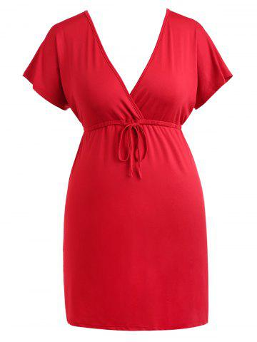Trendy Drawstring Waist Plus Size Plunge Mini Dress