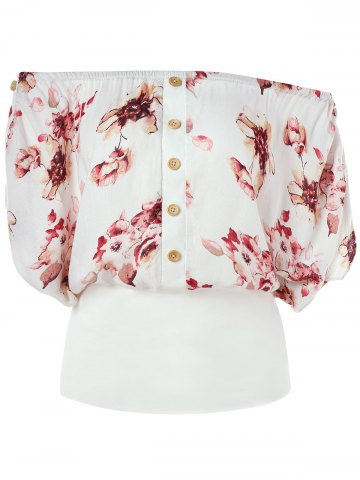 Outfit Off Shoulder Button Floral Blouson Blouse
