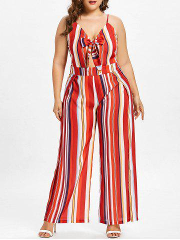 Outfits Plus Size Striped Tie Front Jumpsuit