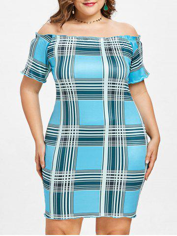 Best Plus Size Plaid Off Shoulder Dress