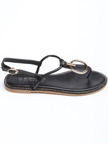 Affordable T Strap Flat Heel Circle Design Sandals