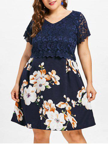 Fashion Plus Size Lace Overlay Floral Dress