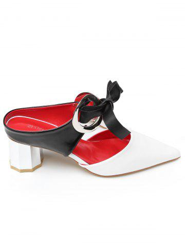 New Bowknot PU Leather Mid Heel Point Toe Sandals
