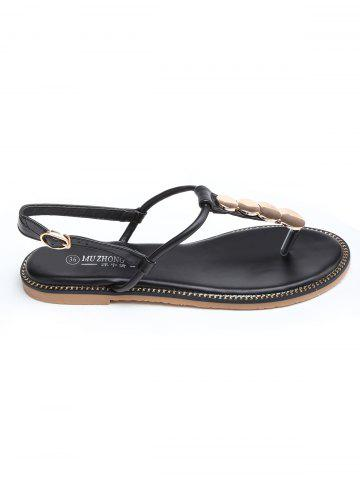 Chic T Strap Disc Design PU Leather Sandals