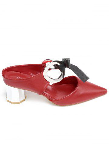 Shops Bowknot PU Leather Mid Heel Point Toe Sandals