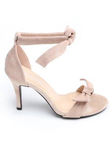 New Stiletto Heel Ankle Strap Suede Bow Sandals