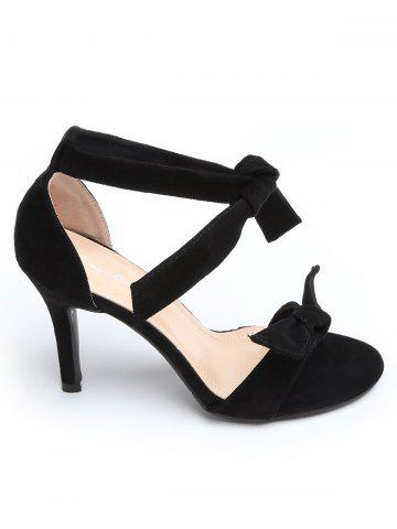 Trendy Stiletto Heel Ankle Strap Suede Bow Sandals