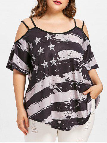 Cheap Plus Size American Flag T-shirt