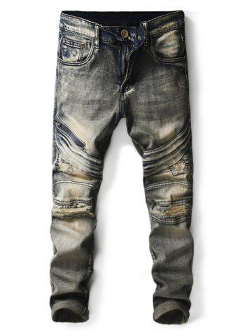 Buy Zipper Fly Destroyed Stretchy Denim Jeans