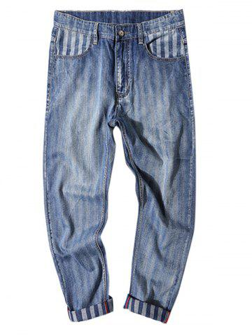 Cheap Stripe Print Fit Zipper Fly Nine Minutes of Jeans