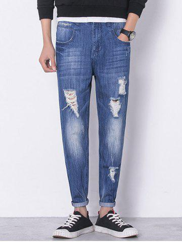 Fashion Panel Bleached Broken Hole Zip Fly Jeans