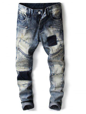 Fancy Ripped Biker Slim Denim Jeans