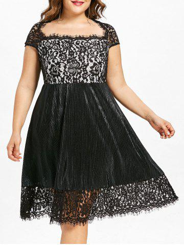 Buy Plus Size Square Neck Lace Trim Party Dress