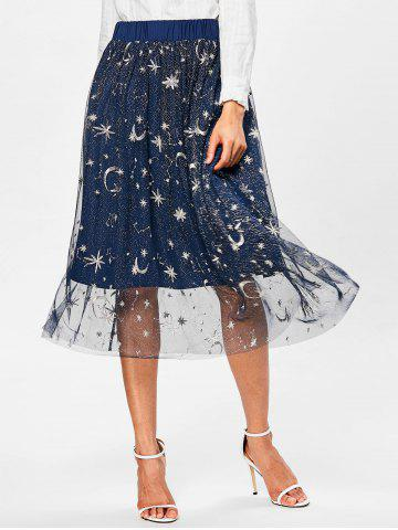 High Waisted Galaxy Print A Line Skirt