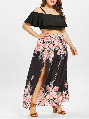 Outfits Plus Size Layered Crop Top with Floral Print Skirt