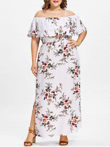Discount Plus Size Floral Off Shoulder Dress
