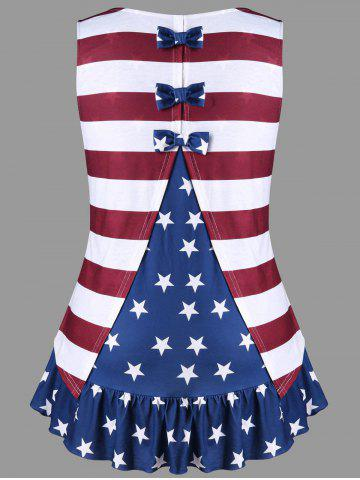 -43% Plus Size American Flag Tank Top with Bowknot