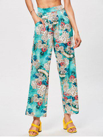 Bohemian High Waisted Floral Wide Leg Pants