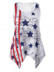 Plus Size Handkerchief Patriotic Tank Top -