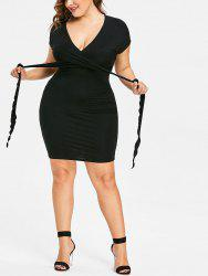 Plus Size Self Tie Fitted Dress -