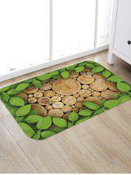 Leaf and Wood Pattern Water Absorption Floor Rug -