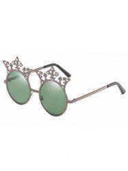 Crown Rhinestone Sun Shades Circle Sunglasses -