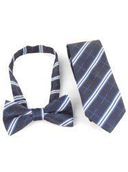 Striped Pattern Silk Shirt Tie and Bowtie Set -