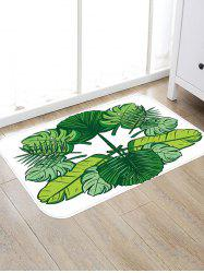 Tropical Leaves Pattern Water Absorption Floor Rug -