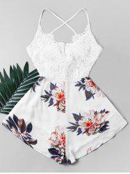 Crochet Criss Cross Bowknot Flower Romper -