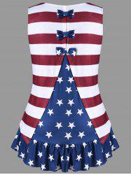 Plus Size American Flag Tank Top with Bowknot -
