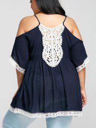 Plus Size Contrast Trim Cold Shoulder T-shirt -