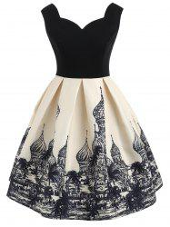 Architecture Print Sleeveless Vintage Dress -