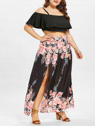 Plus Size Layered Crop Top with Floral Print Skirt -