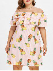 Plus Size Pineapple Off Shoulder Dress -