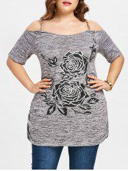 Plus Size Chains Embellished Cold Shoulder T-shirt -