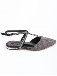 T Strap Point Toe Rhinestone Flat Heel Sandals -
