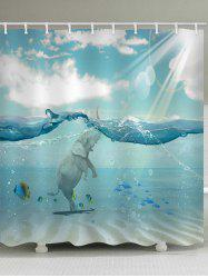Sea Elephant Print Waterproof Bathroom Shower Curtain -