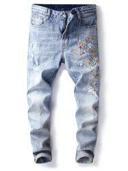 Distressed Flower Print Denim Jeans -