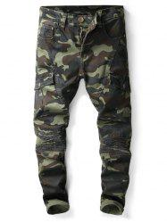 Zipper Fly Multi-pocket Camo Print Jeans -
