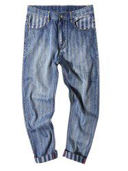 Stripe Imprimer Fit Zipper Fly neuf minutes de Jeans -